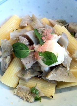 Penne artichaud, chèvre, menthe et citron caviar http://wp.me/p389oa-bE