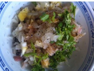 mixer avec coriandre et crevettes