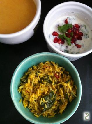 Riz à la tomate façon Goa, avec des blettes