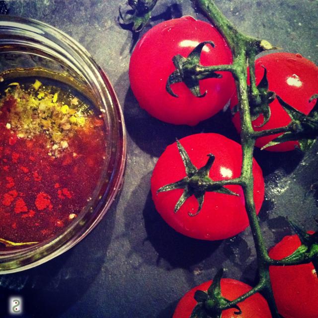 tomates confites paprika fumé coriandre
